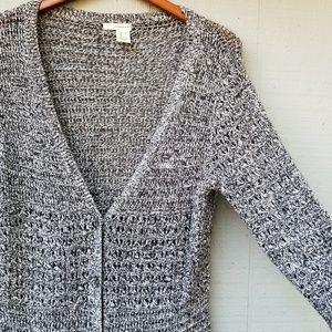 DKNY Loose Weave V Neck Cardigan Sweater L Grey